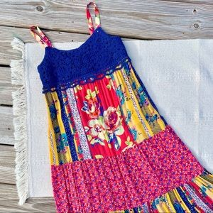 Mossimo Boho Floral Quilted Crochet Lace Dress